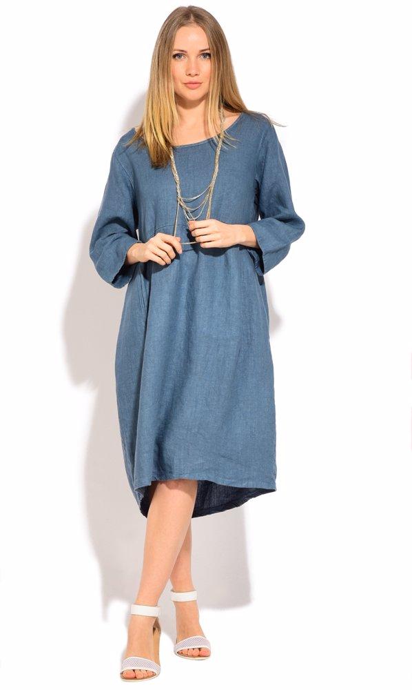 www.ozsale.com.au — Couleur Lin Linen Myrtille Dress Blue