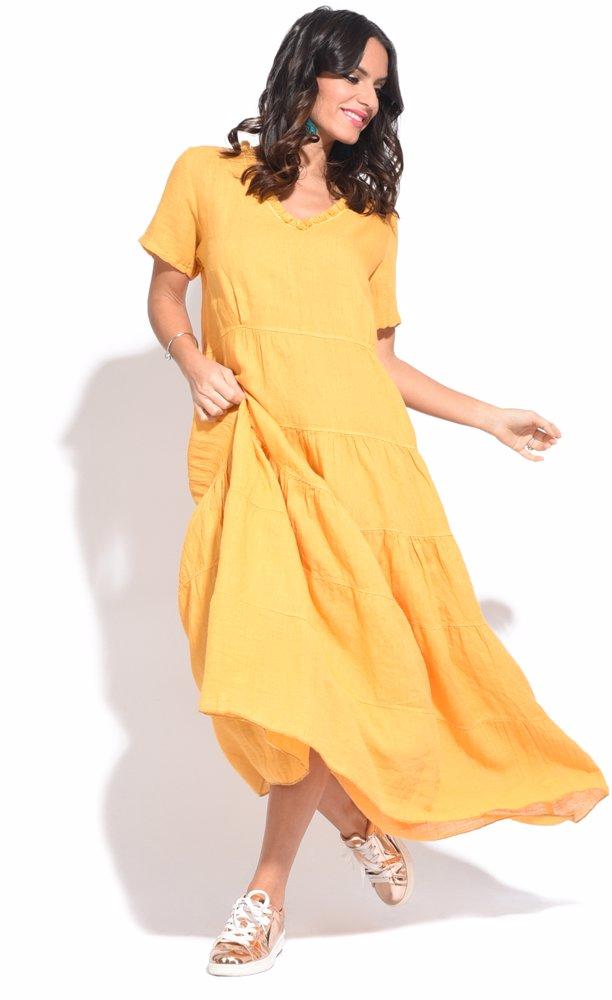 www.ozsale.com.au — Couleur lin Stacy Dress Yellow