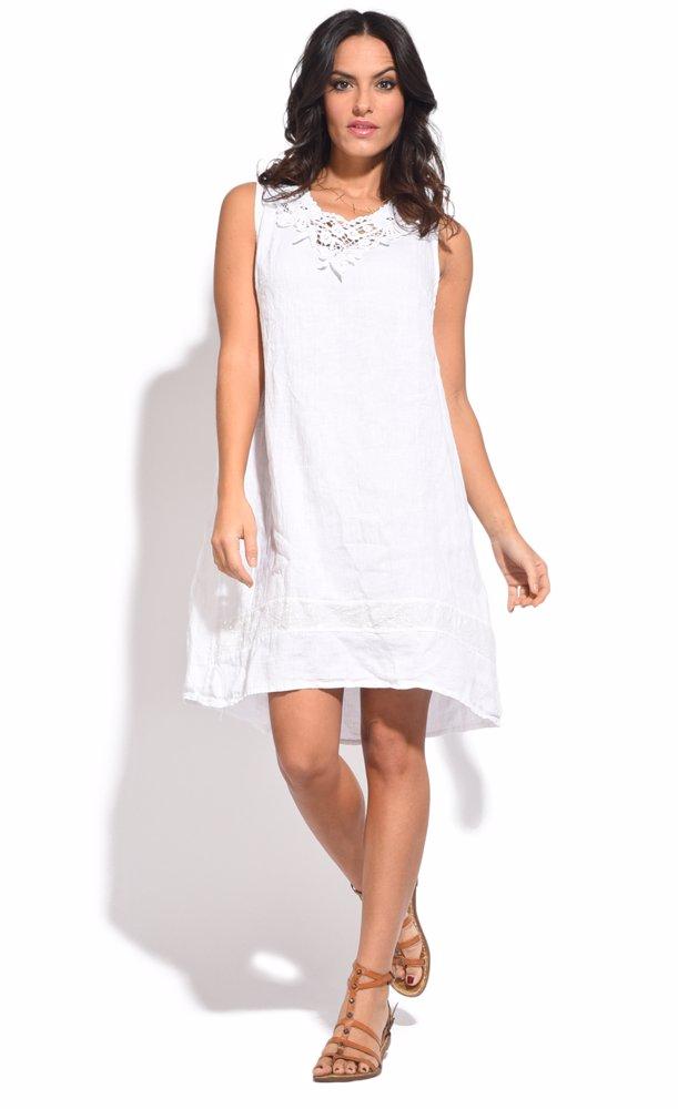 www.ozsale.com.au — Couleur lin Marlene Dress White