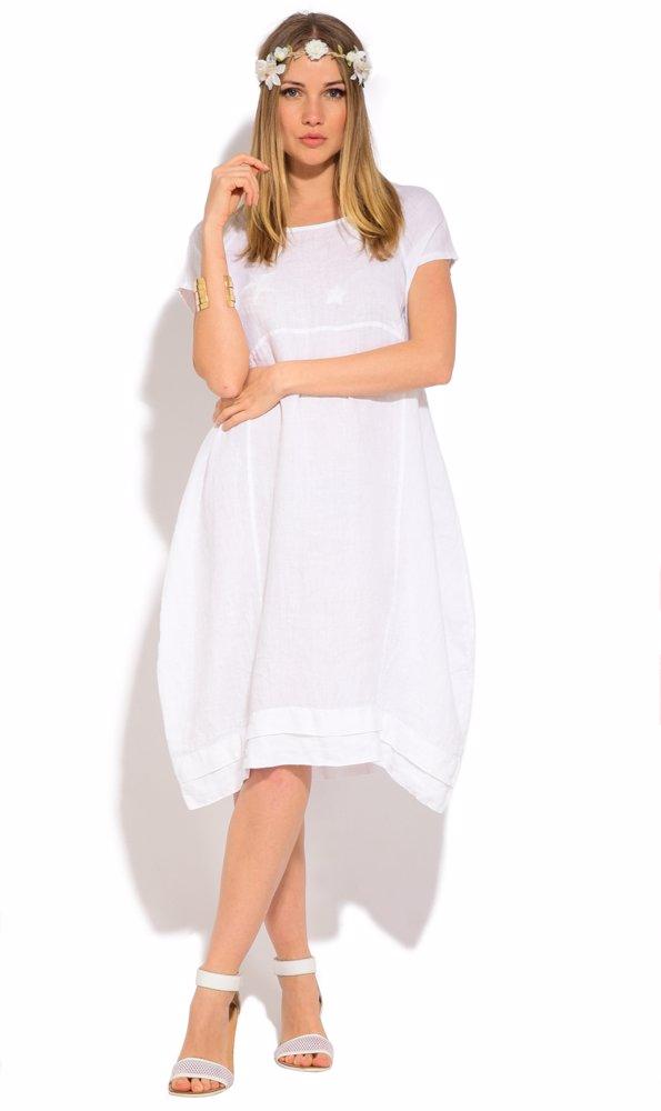Linen Kimy Dress White