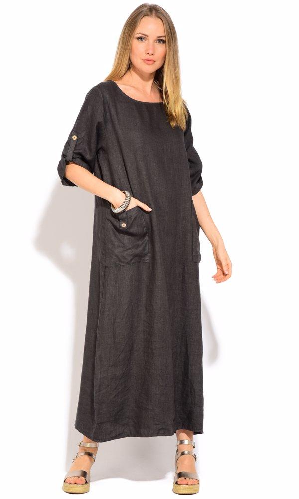 Linen Jonquille Dress Grey