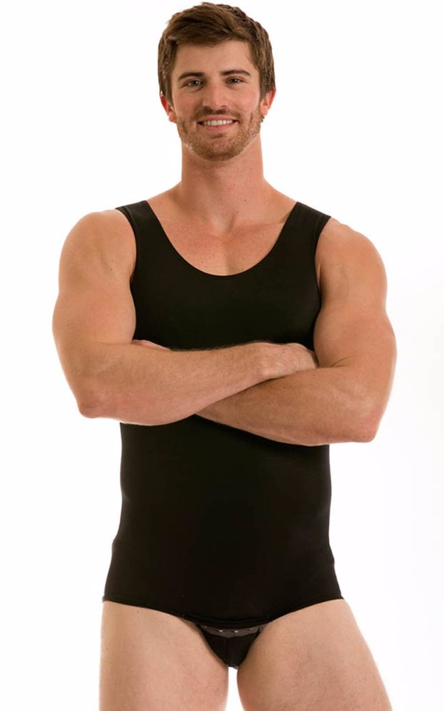 6e8bb157e8604 Preview with Zoom. Instant Figure. Mens Tank Bodysuit With Snap Crotch Black