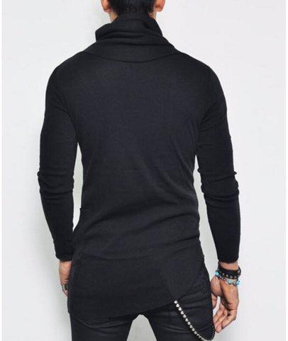 f3f8b81a78a1 BuyInvite | Menswear Essenatials Mens High Neck Shirts Asymmetrical Long  Sleeve Shirt