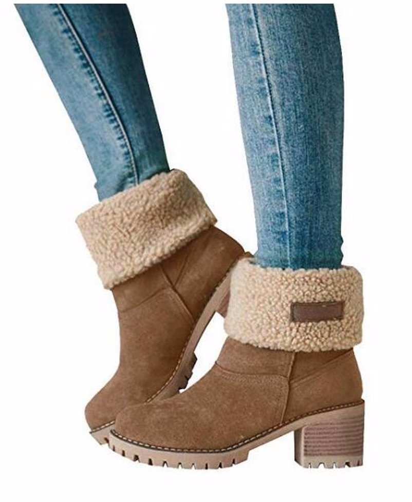f2aaa82d95a45 BuyInvite | Fashion Boots & Booties Suede Chunky Mid Heel Boots ...
