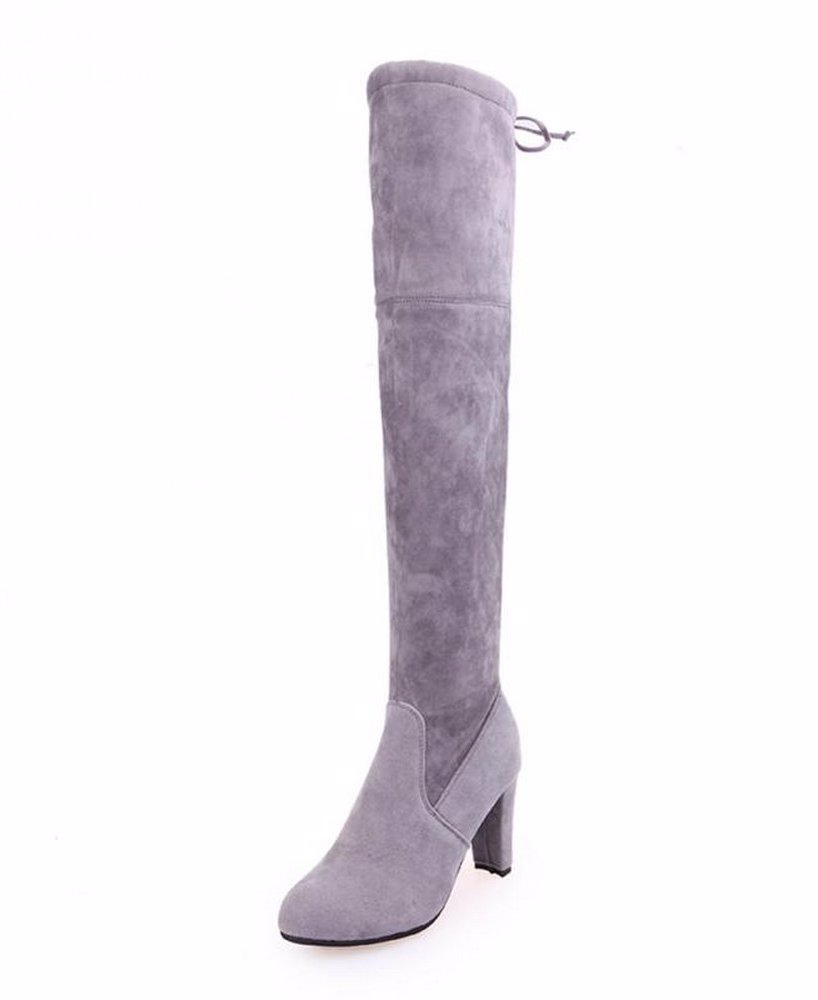 26c9b34fe1f92 Women Long Boots Over Knee High Heel Slip-on Lace-up Shoes