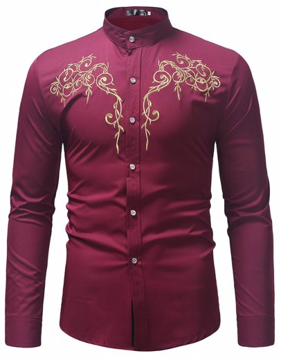 93026d7b36ae BuyInvite   Back To Work Long Sleeve Embroidered Stand Collar Shirt