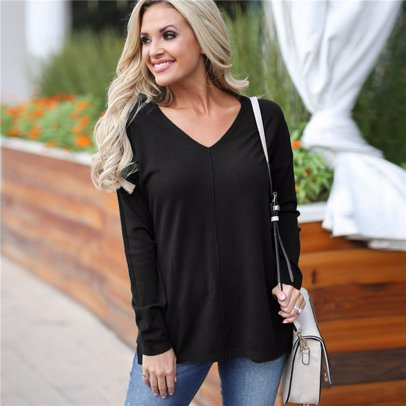 827b92df319ba9 BuyInvite   Winter Knits Womens Casual V Neck Pullover Knitted Sweater