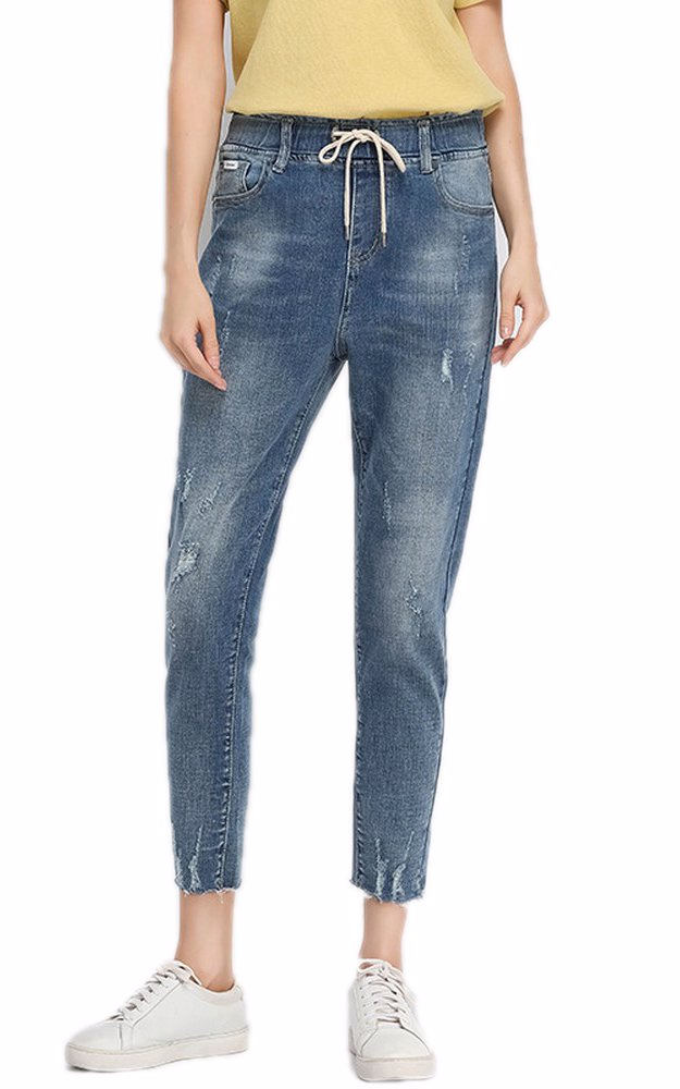 46d4c2a62e4 BuyInvite | The Denim Edit Womens Waistband Ripped Distressed Jeans
