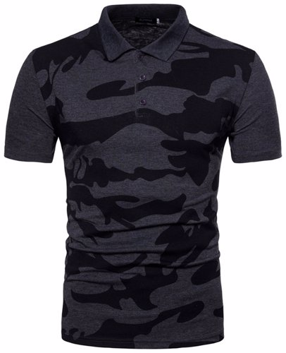 17302cfa5dea0 BuyInvite | Menswear Essenatials Mens Short Sleeve Camo Polo T Shirt Slim  Fit Casual Tops