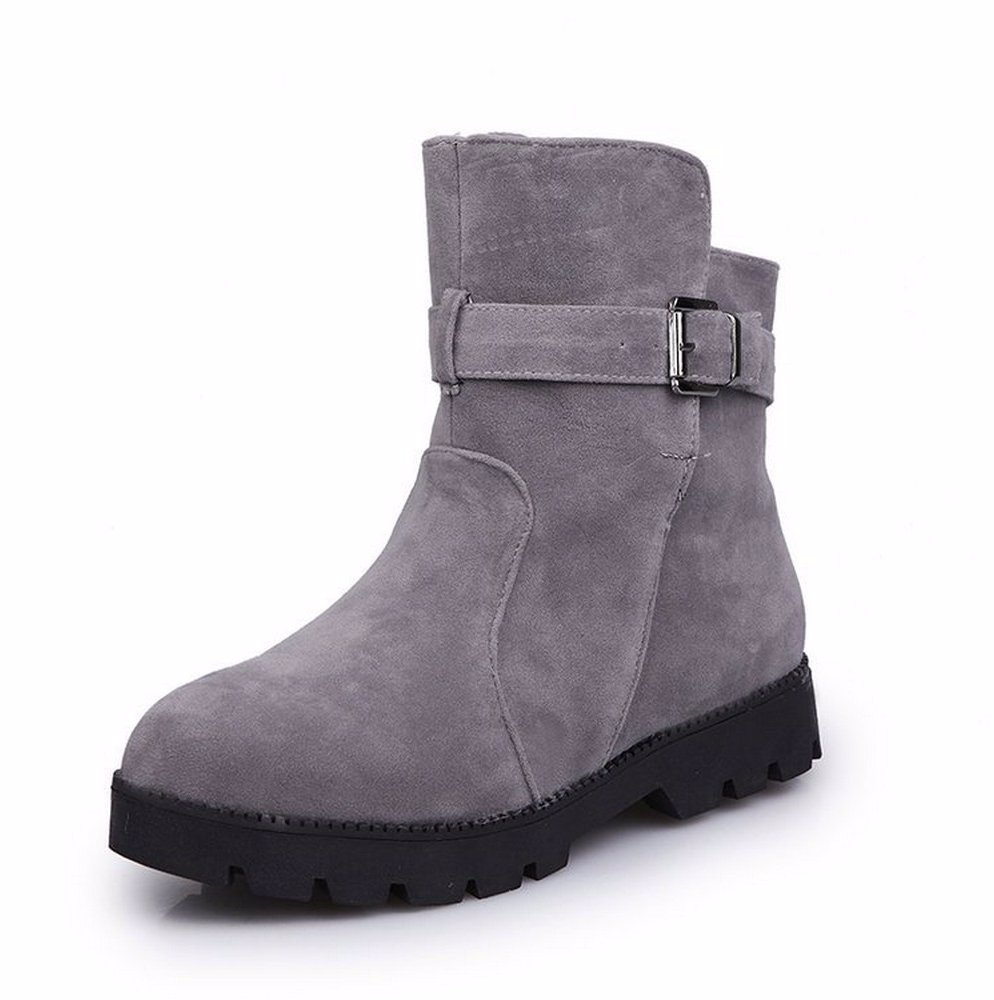 2561e1fb2de BuyInvite | Fashion Boots & Booties Flat Bottom Matte Buckle Non ...