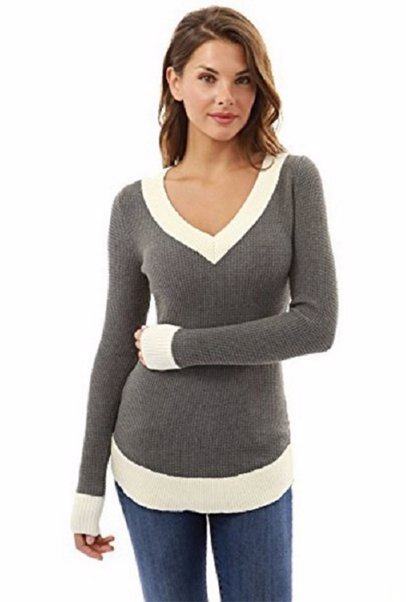 1a80dceb9efb BuyInvite | Winter Knits Womens V Neck Long Sleeve Knitted Sweater Tops