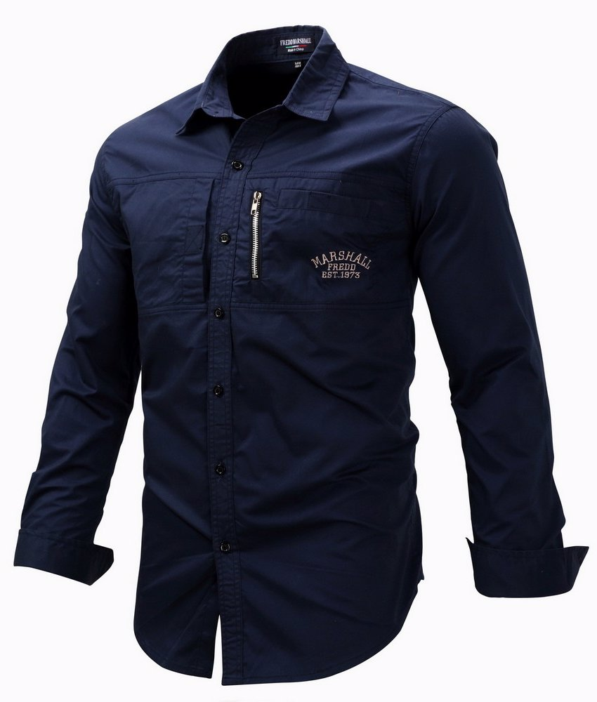 56176036c Mens Regular Fit Long Sleeve Zipper Shirts