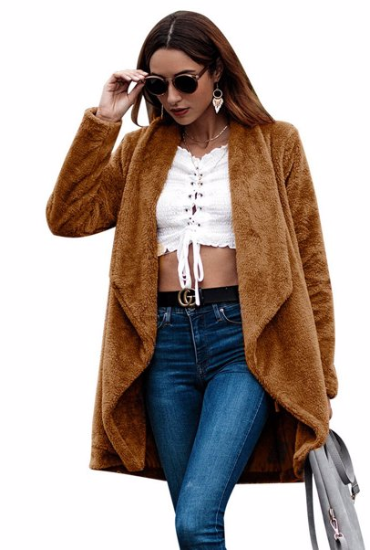 f819f7ad9a8 BuyInvite | On-trend Faux Fur Jackets Womens Turn-down Collar Faux ...