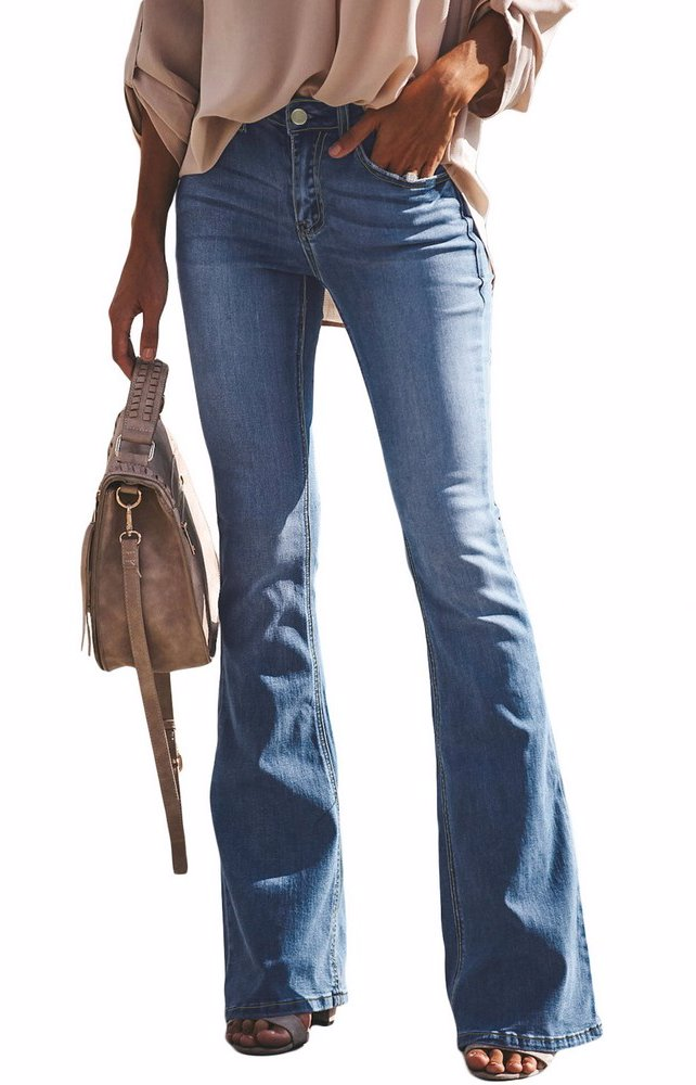 f0d643bf2b BuyInvite | The Denim Edit Women Ripped Flare Jeans Mid Rise Fitted ...