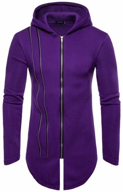 82f5e86e9 Mens Hooded Long Zip Sweatshirt Coat