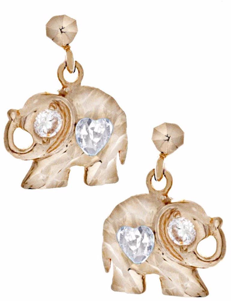 848a69b682a67 14K Solid Gold Elephant Clear Heart-Cut Cz Stud Earrings