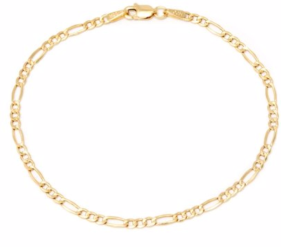 2bb70de20970a7 BuyInvite   Best Silver 14K Solid Gold Figaro Chain Bracelet 7 Inches