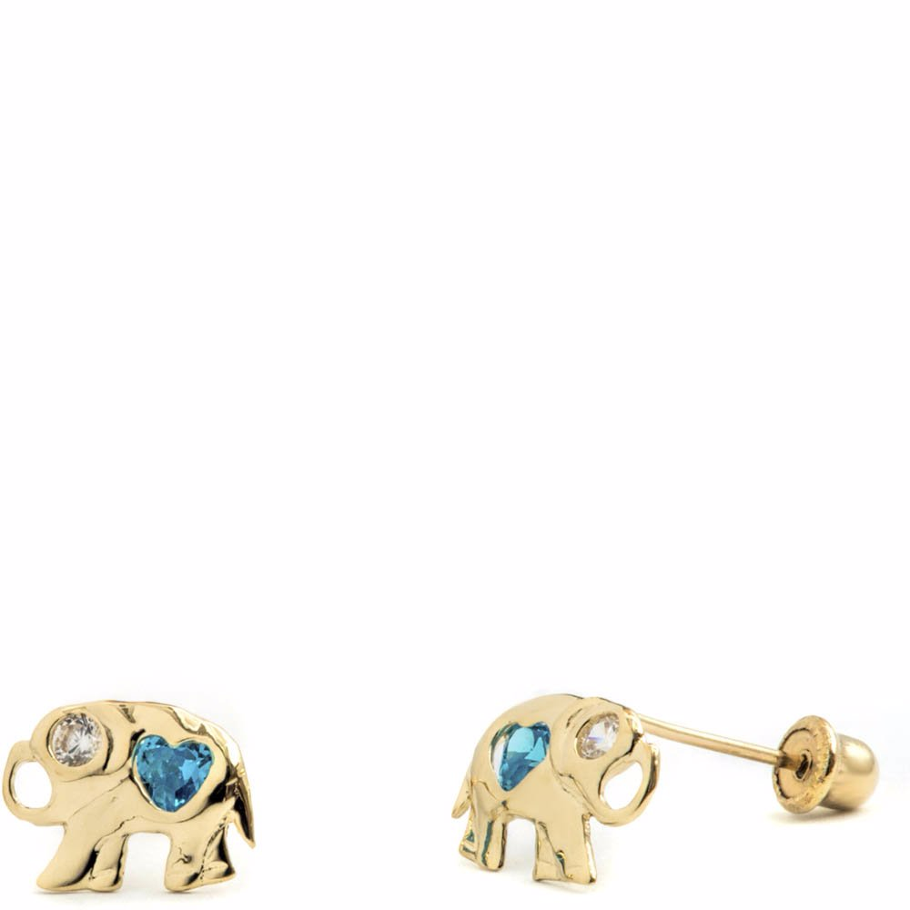 11d2e69390be1 14K Solid Gold Elephant With Cz Stud Earrings