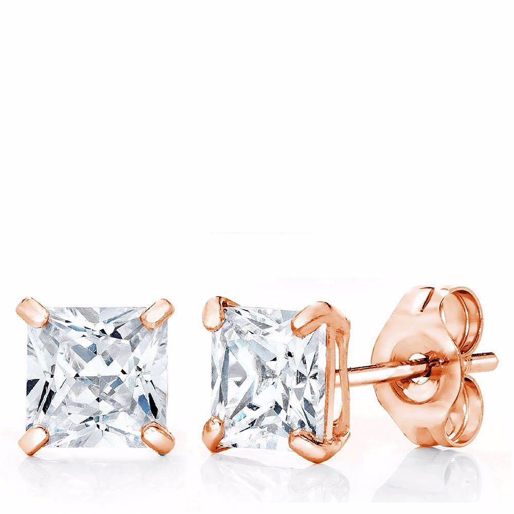 b9f28dfdf Preview with Zoom. Best Silver. 14K Rose Gold 4Mm Princess-Cut Stud  Earrings Made With Crystals
