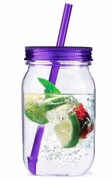 Straw Mason Jar Tritan With Straw Purple