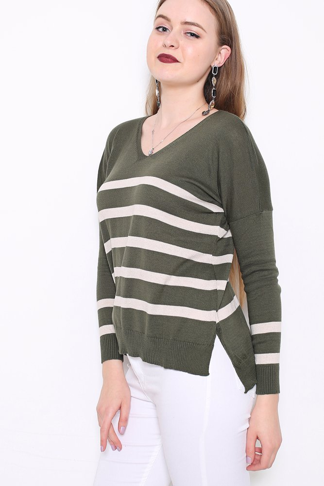 b0d2e39828f2 Preview with Zoom. RED QUEEN. Striped V Neck Sweater Khaki