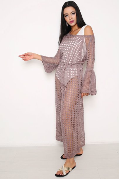 6623e1d4c5 BuyInvite   Hopoi Bell Sleeve Slit Front Maxi Openwrok Cover Up