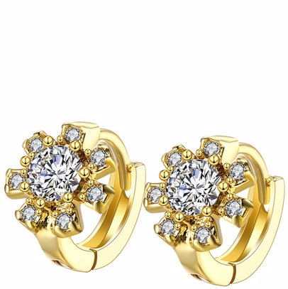 18K Gold Plated With Swarovski® Crystals Floral Earrings