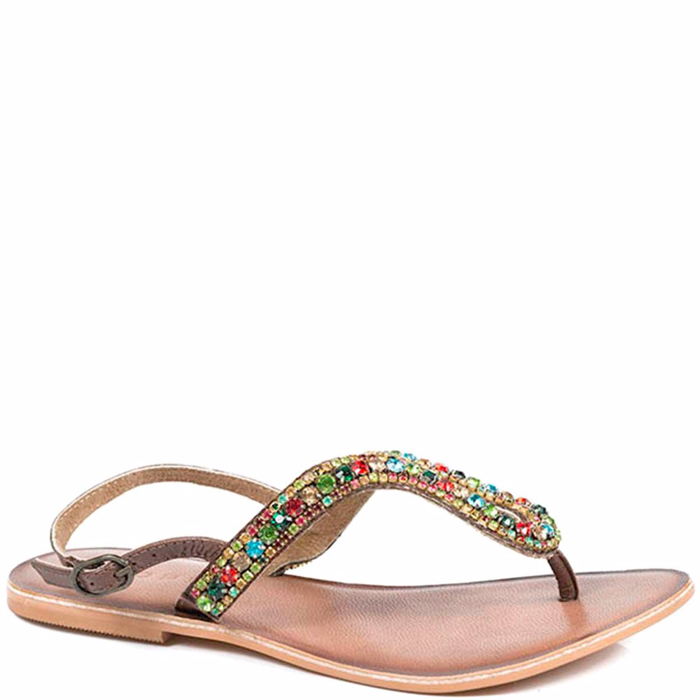 5b074abfeca Preview with Zoom. Roper. Womens Brown Thong With Multi Color Crystals  Leather Sandal