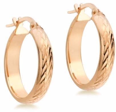 19244745b BuyInvite | 9ct Gold 9ct Red Medium Round Diamond Cut Earrings