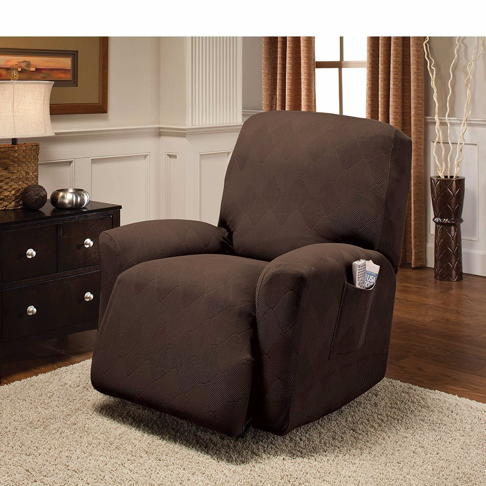 www optic stretch slipcover recliner chocolate