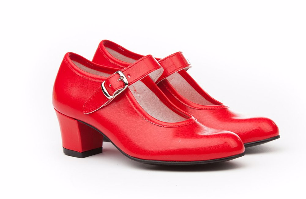 Angelitos High Heel Kids Mary Janes Red