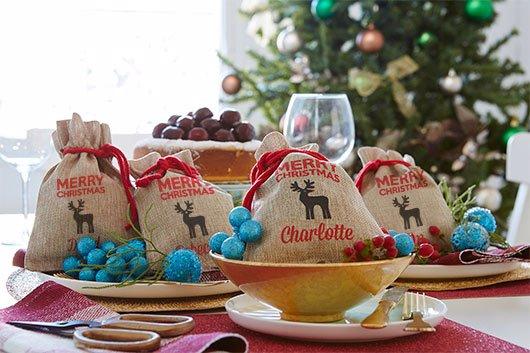 Christmas Set.Mini Vintage Christmas Sack Reindeer Set Of 4