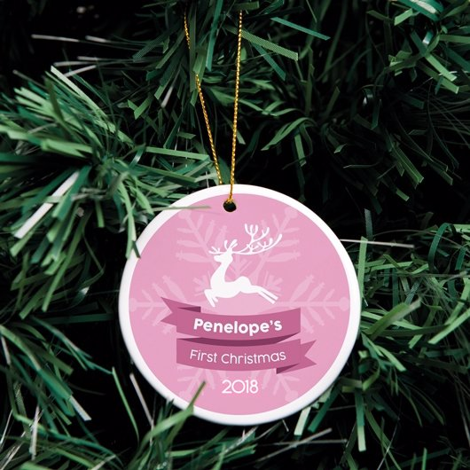 Ceramic Christmas Ornaments My First Christmas Pink