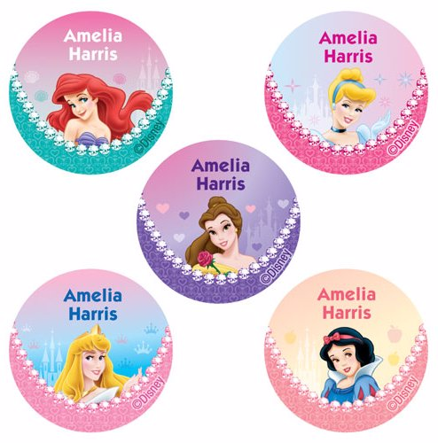 8f821615129d 30 Disney Princess Round Name Labels Pack