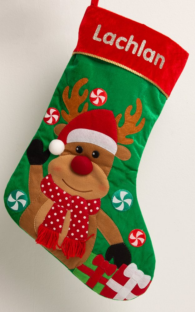 Identitydirect Personalised Christmas Stocking Personalised Reindeer Stocking