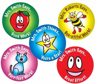 60 Teacher's Reward Round Name Labels Pack