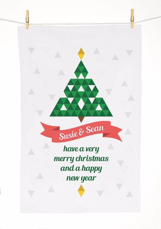 Identitydirect Personalised Christmas Tea Towel Tea Towel Triangle Christmas Tree