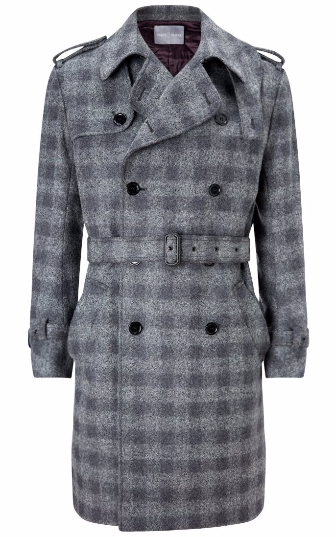 Italian Fabric Lucas Trench Coat Grey Check