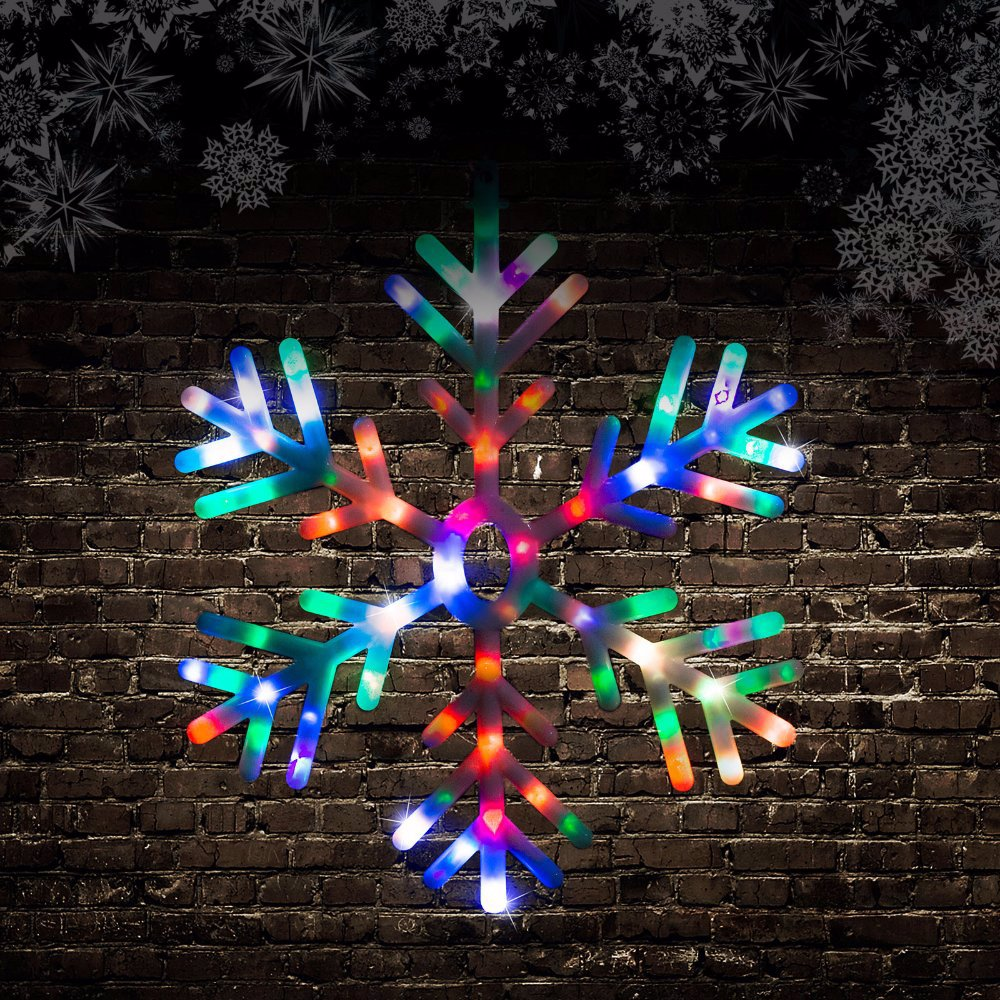 separation shoes db80a caf01 88 Led Rainbow Snowflake Multi Colour Indoor Outdoor Christmas Light Decor  60cm