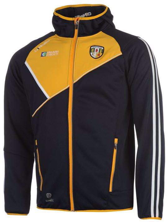 5cf6b713a08f4b ONeills Antrim GAA Conall Two Stripe Full Zip Embossed Hooded Jacket Mens