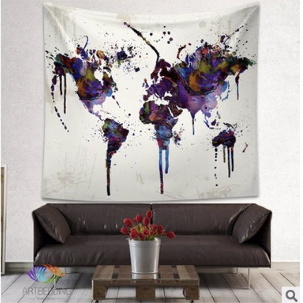 World Map Tapestry Wall Hanging - Multicolor 165x145cm