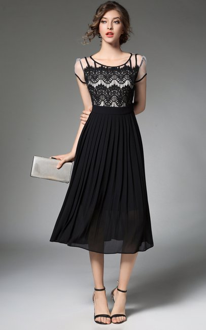 30aca37f6ebc8a BuyInvite | Dress For The Occasion Lace Top Dress Black