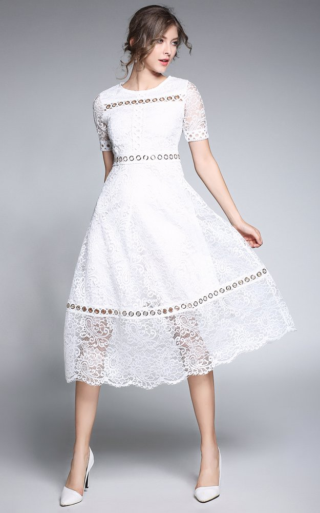 f4b291c41714 Preview with Zoom. Dress For The Occasion. Lace Midi Dress White
