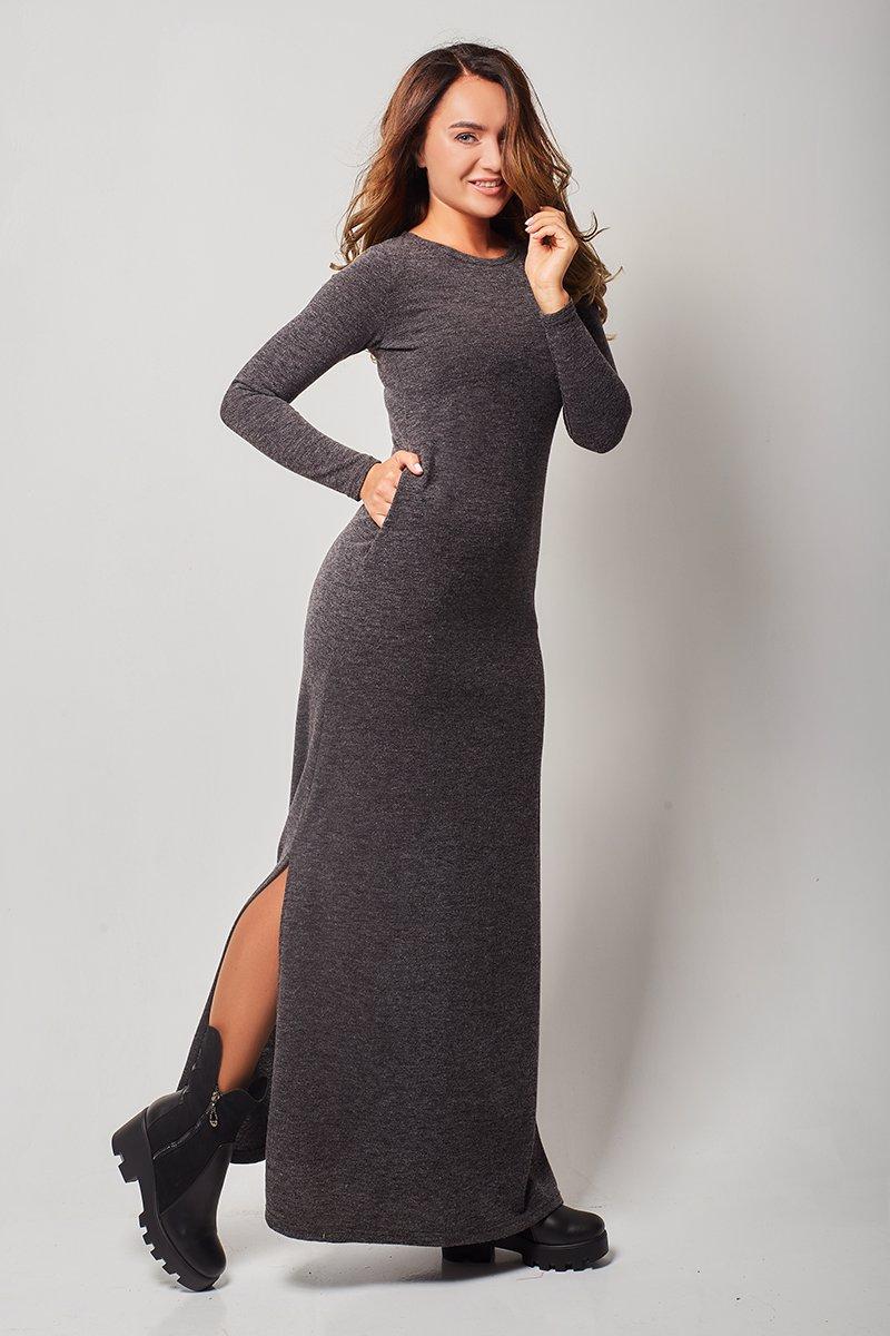 00b961c5d37 Black Long Sleeve Maxi Dress With Pockets - Data Dynamic AG