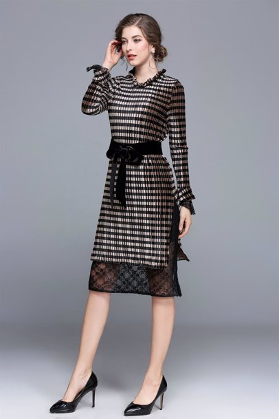 718409659a0 BuyInvite | Dress For The Occasion Long Sleeve Dress Black and Golden  Stripes