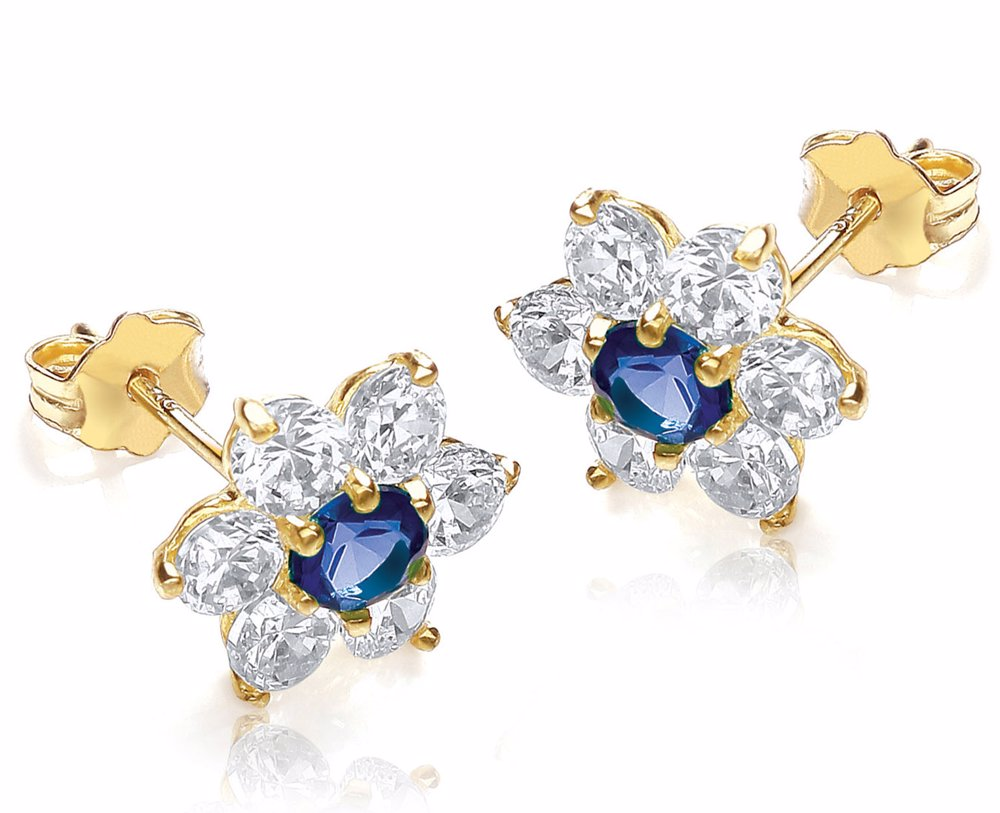315e18f61b76b 9ct Yellow Gold Blue And White Cz 10mm X 10mm Flower Cluster Stud Earrings  Yellow Gold