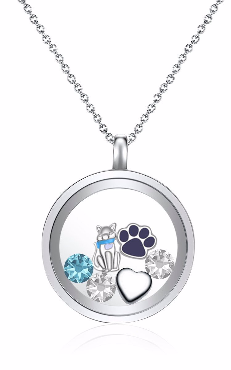 a70c731c1 OZSALE | Mestige I Love Cats Floating Charm Necklace with Crystals ...