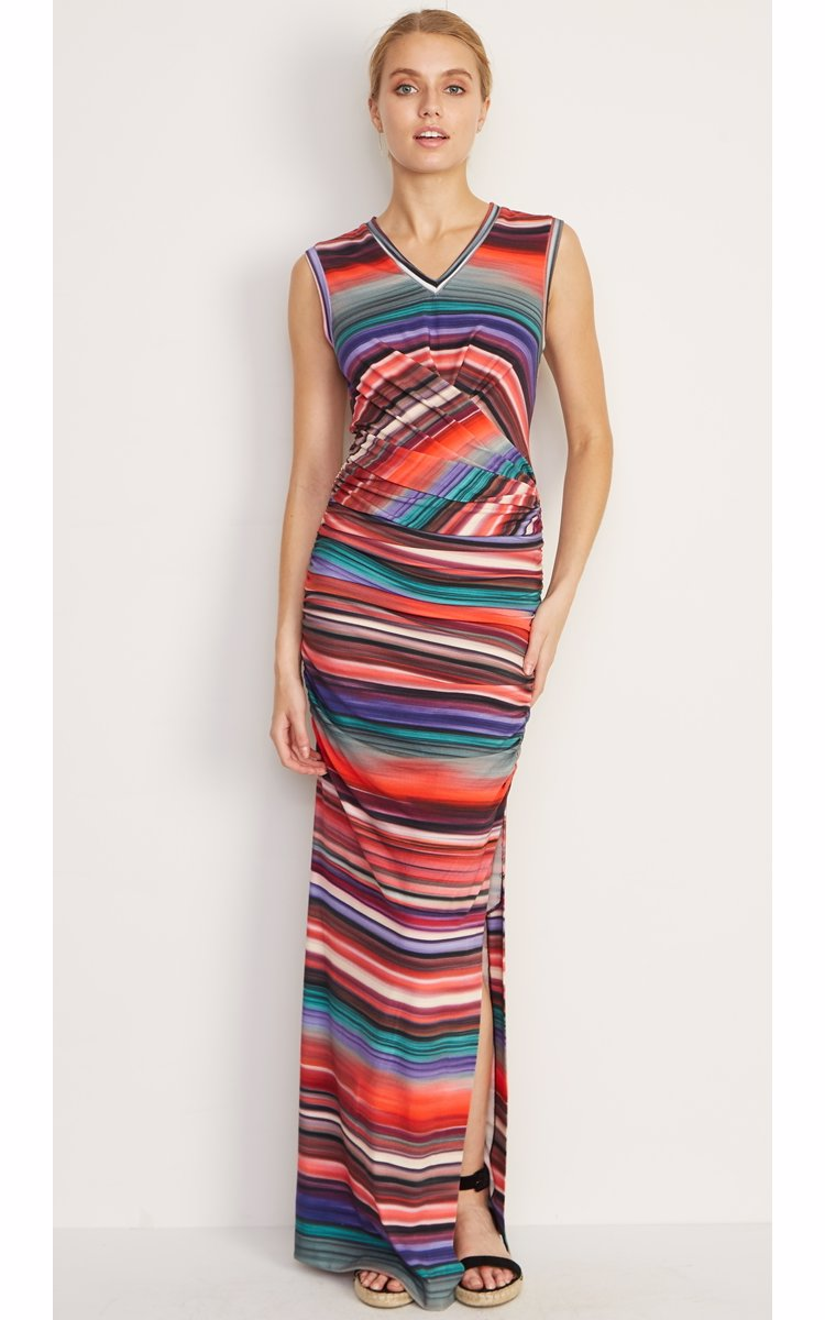 c641816cec Preview with Zoom. Nicole Miller. Abalone Stripe Vnk Maxi Dress