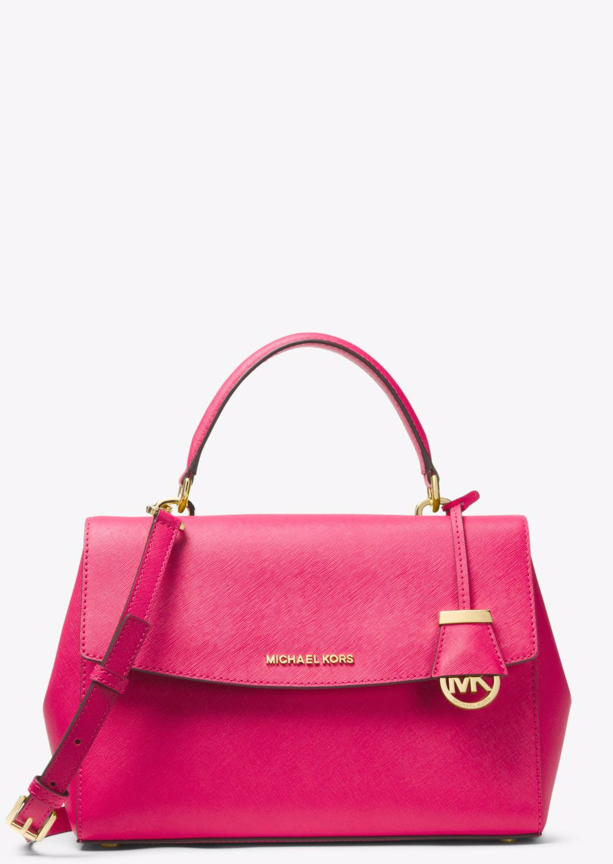 f8fb6b1777ab OZSALE | Michael Kors Ava Medium Saffiano Leather Satchel - Ultra Pink
