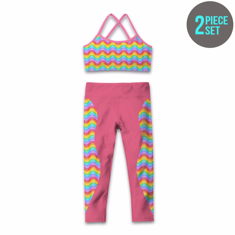 6e438aa42cd08a NZSALE | Rainbow & Pink Wave Dot Crisscross Sports Bra & Leggings